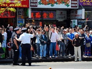 Upprörda KKP-supportrar i ChinaTown i New York